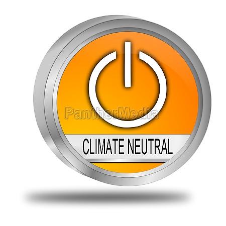 climate neutral button orange 3d