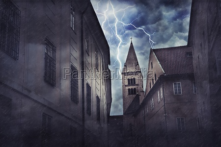 heavy storm rain and lighting in