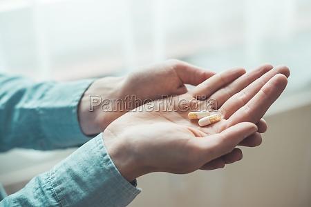 medicament or cure concept close up