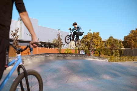 bmx rider jump in action training
