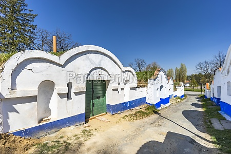 group of typical outdoor wine cellars