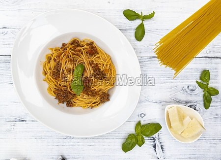 still life with spaghetti bolognese