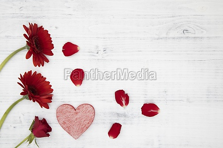 red flowers with red heart on