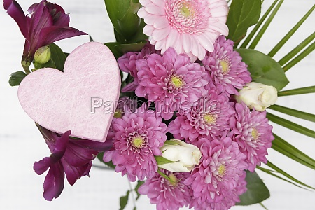 pink flowers with heart on the