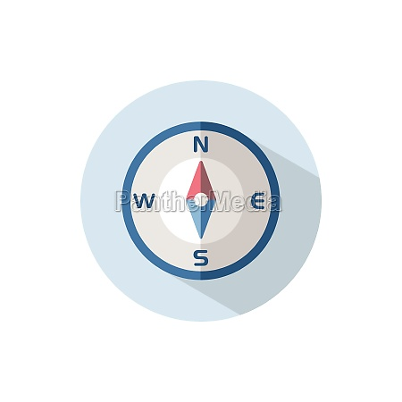 compass north direction flat icon on