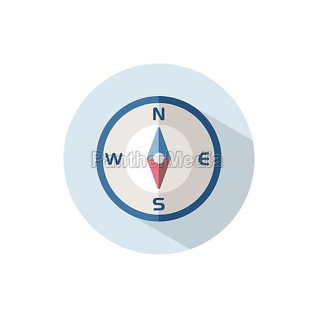 compass south direction flat icon on