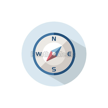 compass south west direction flat icon