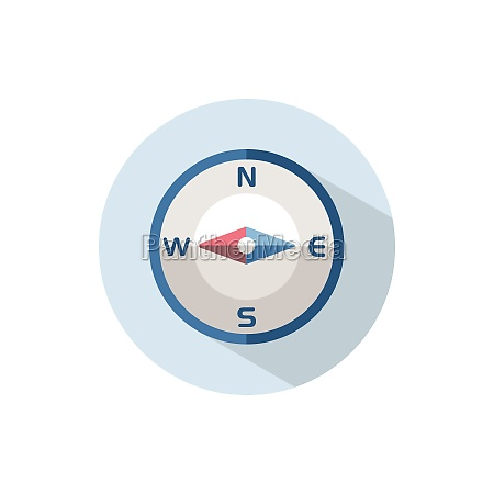 compass west direction flat icon on