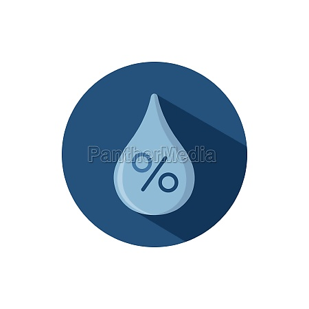 humidity flat icon on a circle