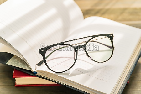 reading glasses put on open book