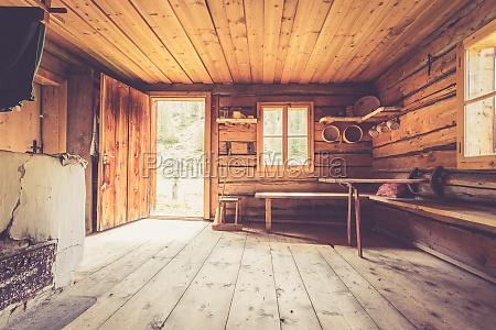 mountain hut in austria rustic wooden