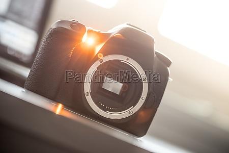 professional camera reflex camera with open