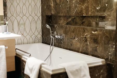 luxury bathroom interior in hotel black