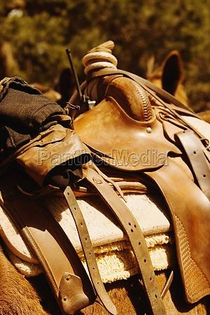 close up of a saddle on