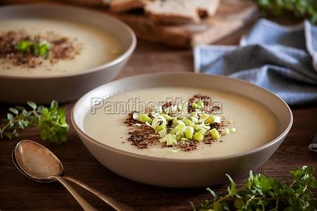 bowls of homemade leek and potato
