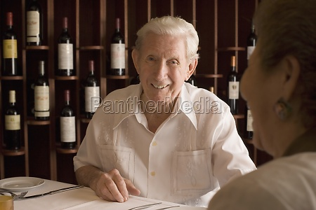 senior man couple dining