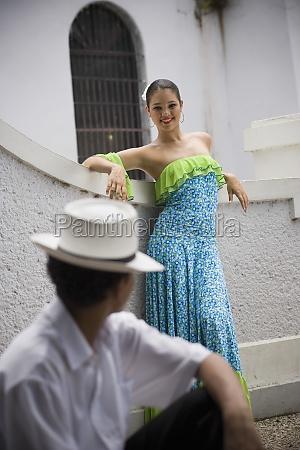 teenaged children wearing plena traditional attire
