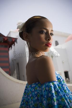 portrait of girl wearing plena traditional