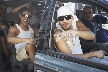 tourists in a car