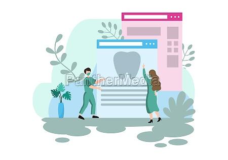 dental office flat color illustration hospital