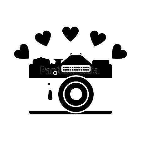 camera with hearts icon