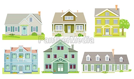 different family houses and apartment houses