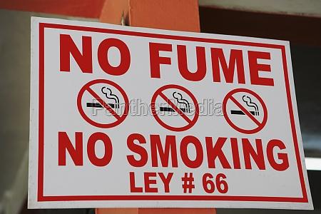 close up of a no smoking