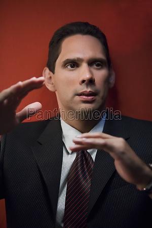 close up of a businessman gesturing