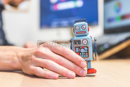 artificial intelligence concept toy robot on
