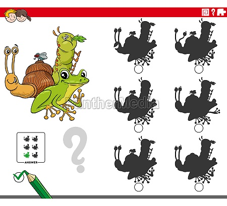 educational shadows game with cartoon animal
