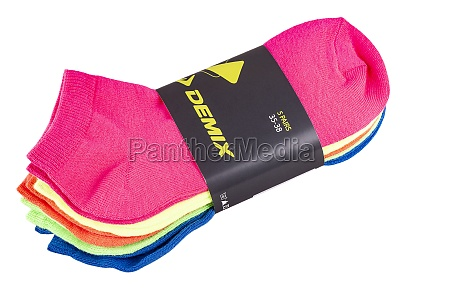brand demix colorful socks isolated on