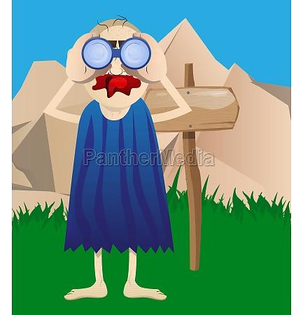 prehistoric man looking through binoculars