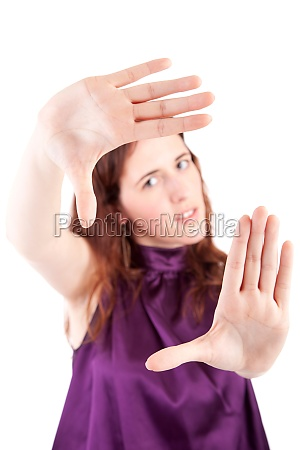 woman showing framing hand gesture