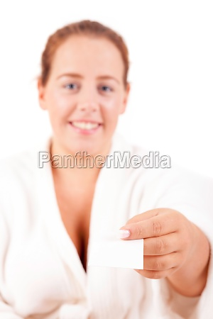 woman offering card