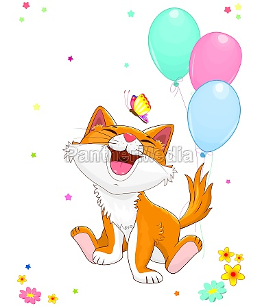 joyful little kitten with balloons