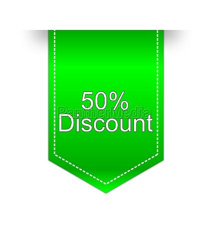 50 discount label green illustration