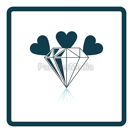 diamond with hearts icon