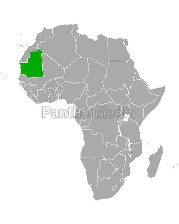 map of mauritania in africa
