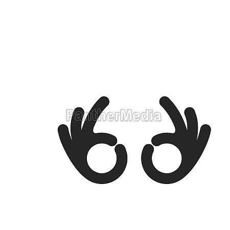 ok hand gesture icon vector