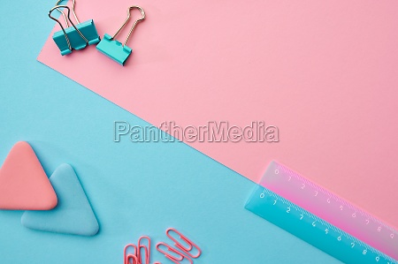 paper clips ruler blue and pink