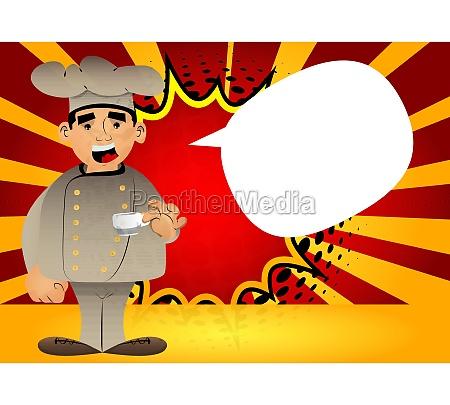 chef in uniform drinking coffee