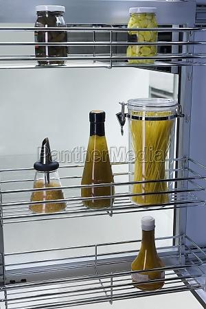 foodstuffs on shelves