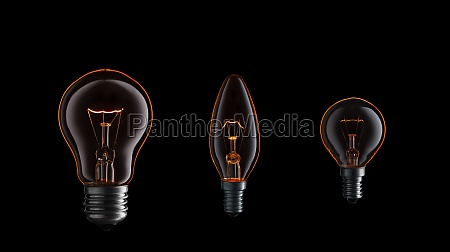 collection of burning light bulbs