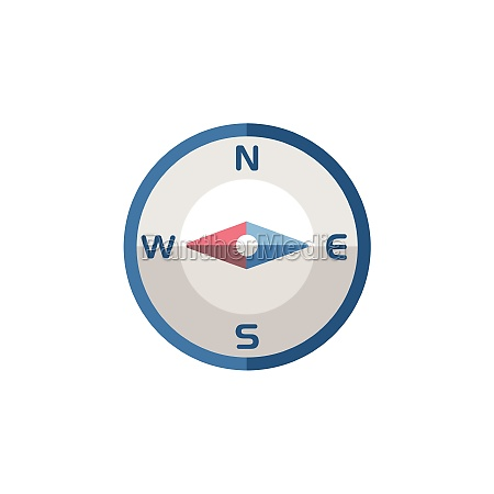 compass west direction flat icon isolated