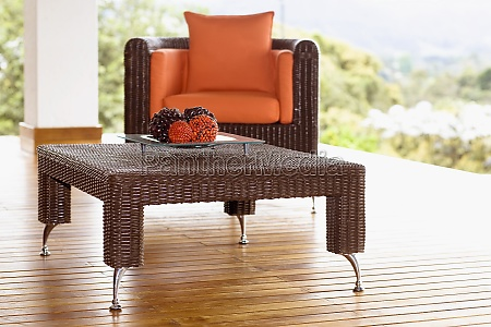 table and an armchair on the