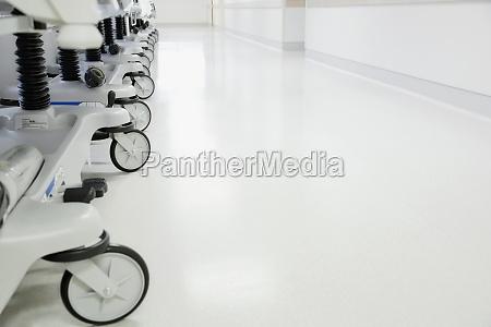 gurneys in a hospital corridor
