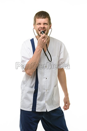 irritated doctor yelling into phonendoscope head
