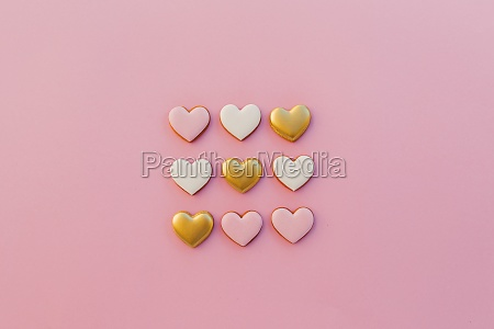 pink background with sweet gingerbread heart