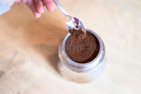 preparing fresh coffee with a vintage