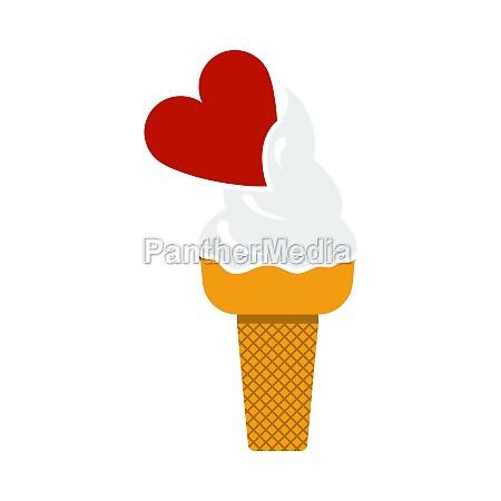 valentine icecream with heart icon